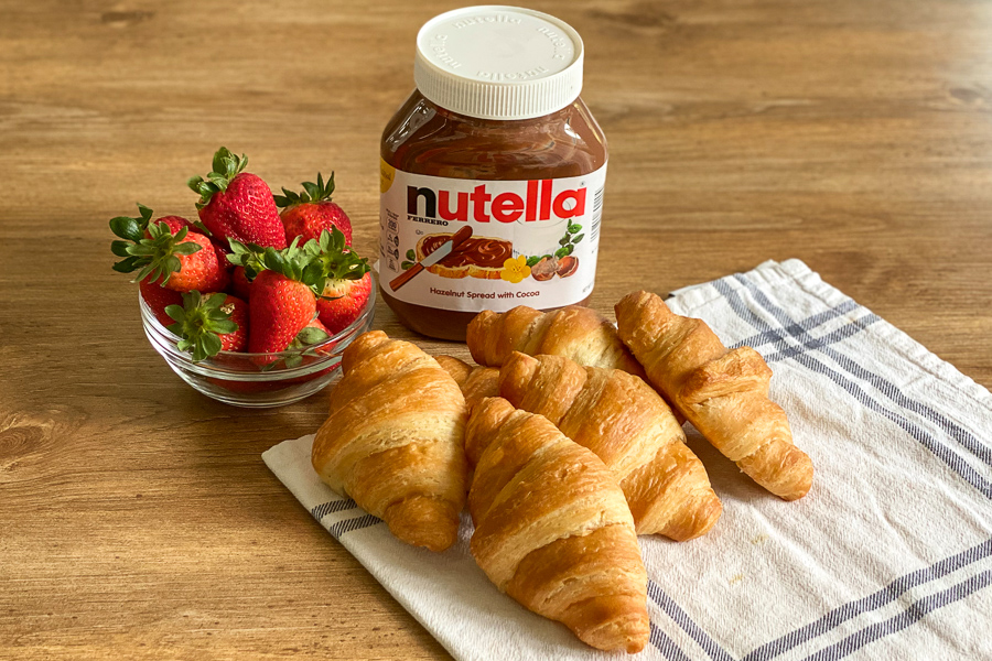 Ingredients for Nutella and Strawberry Croissant
