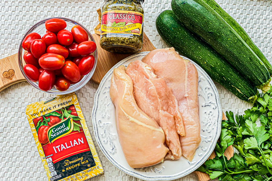Ingredients for our One Pan Chicken Zoodles.
