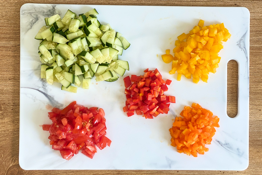 Vegetables chopped on a cutting board