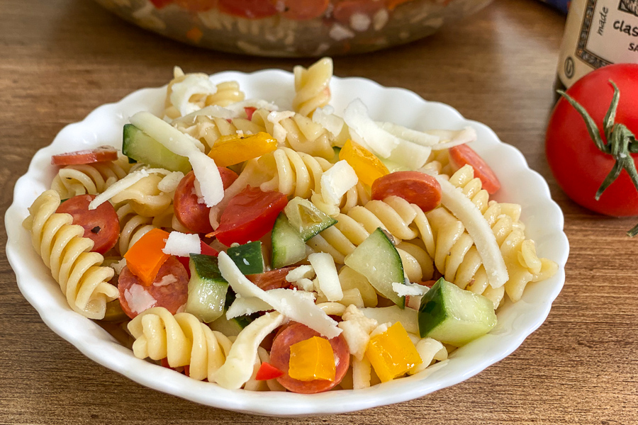 Pepperoni Pasta Salad in a bowl