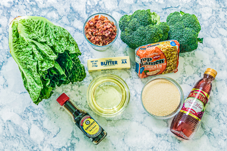 Ingredients for Bacon Broccoli Salad with Ramen