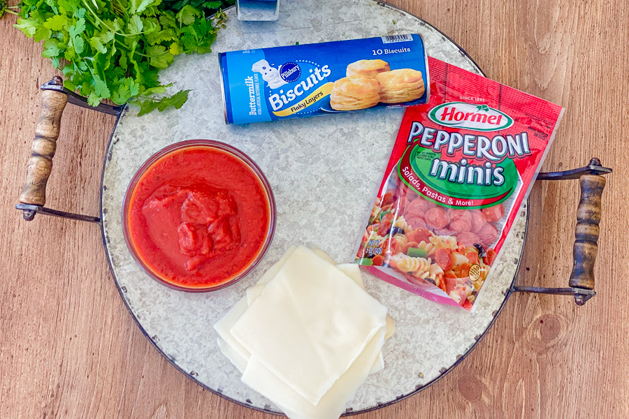 Ingredients for Air Fryer Pizza Rolls on a tray