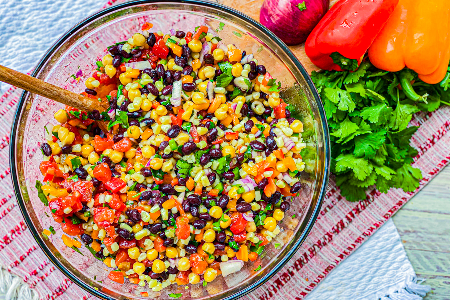 A large glass bowl full our our Easy Cowboy Caviar