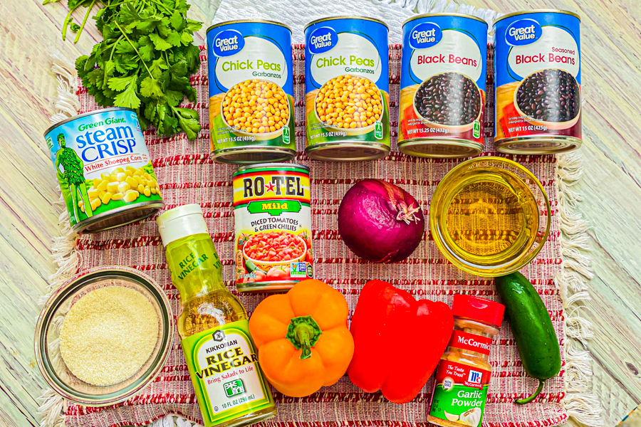 The ingredients for our Easy Cowboy Caviar.