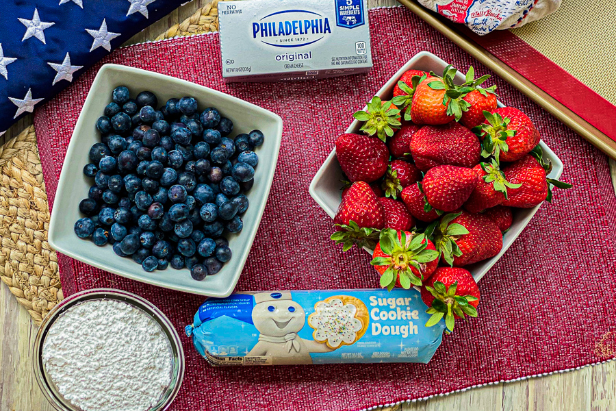 Ingredients for Sugar Cookie Flag Fruit Pizza