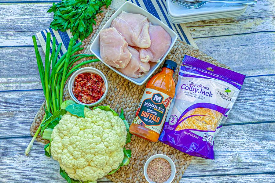 Ingredients four our Buffalo Chicken Cauliflower Casserole.