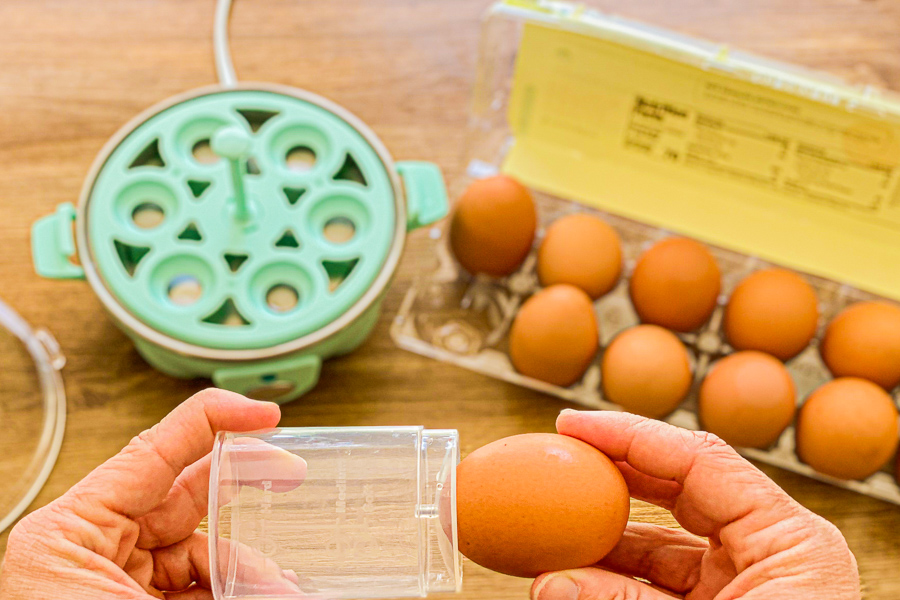 Poking holes in raw egg