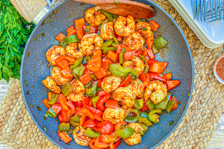 Our Healthy Blackened Shrimp Skillet all cooked before being served.