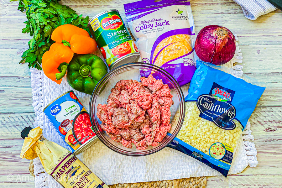 The ingredients for our Healthy Stuffed Peppers Skillet on a table, laid out.