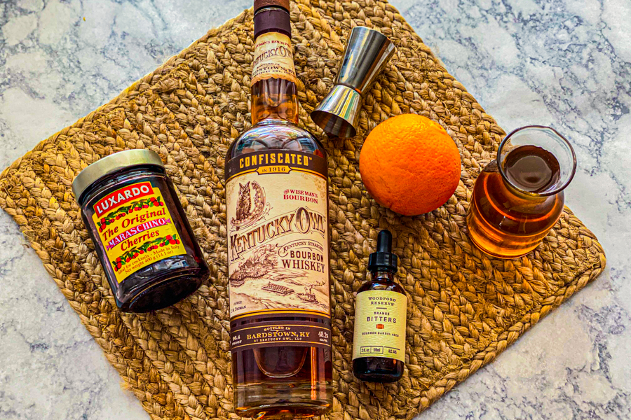 Ingredients for our Kentucky Owl Old Fashioned.