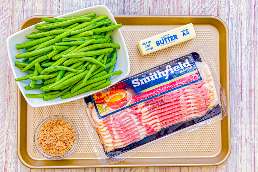 The ingredients for our Sweet Bacon Wrapped Green Beans.