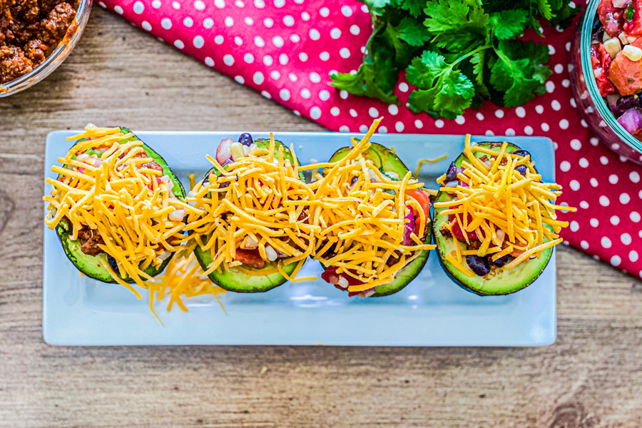Added cheese on top of taco boats.