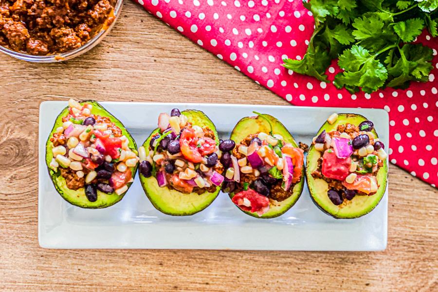 Salsa on Avocado Taco Boats