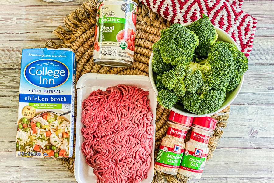The ingredients for the Broccoli and Beef Italian Bowl.