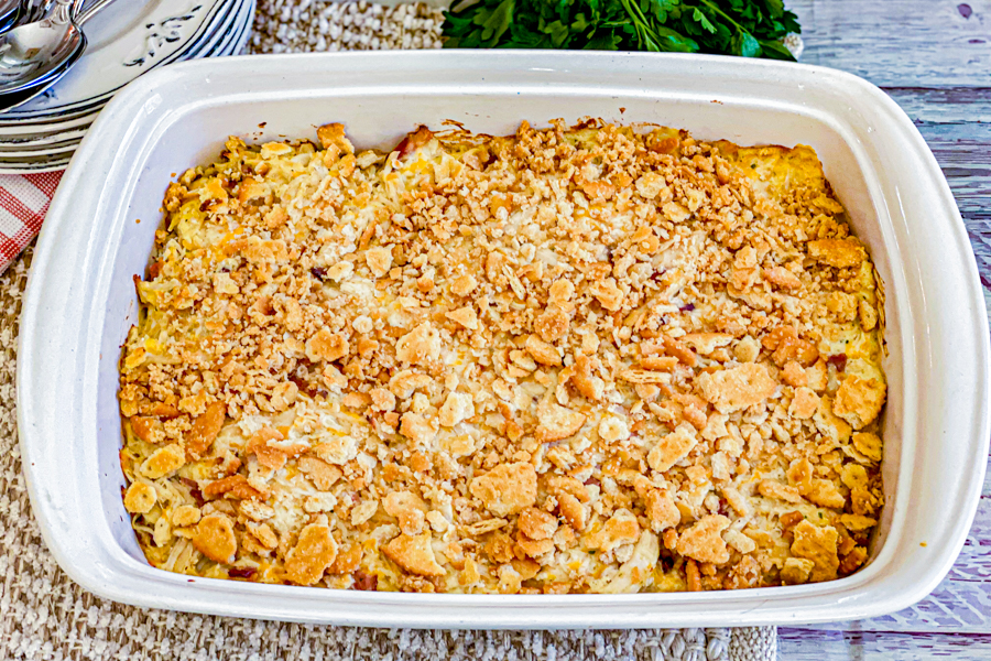 The Creamy Chicken Bacon Casserole after being baked.
