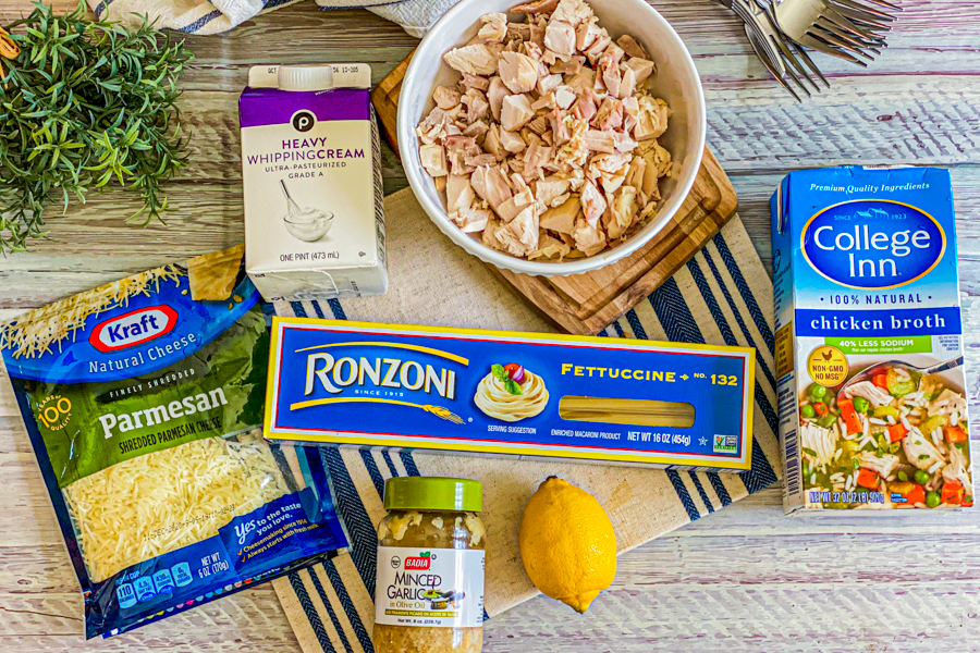 Ingredients for the Quick Instant Pot Chicken Alfredo.