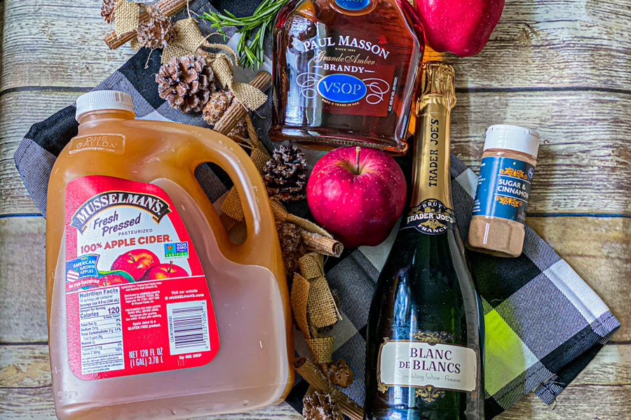 The ingredients for the Champagne Cider.
