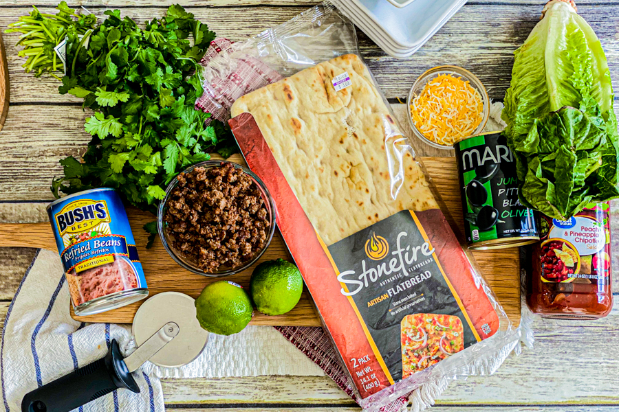 The ingredients for the Homemade Taco Pizza, all laid out.