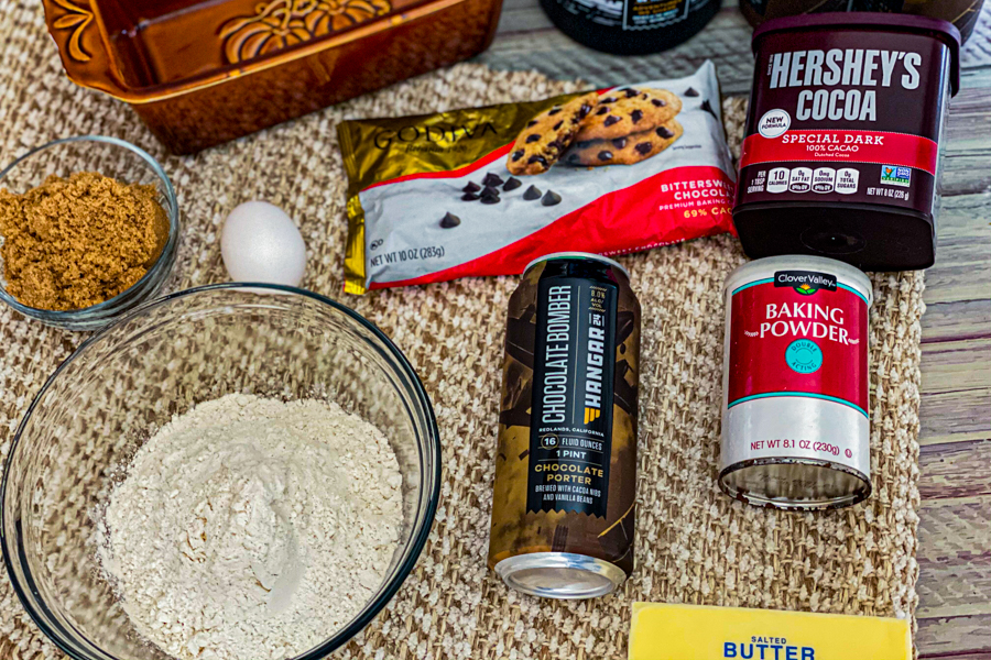 The ingredients for my Delicious Dark Chocolate Loaf Bread laid out on a placemat on a table.