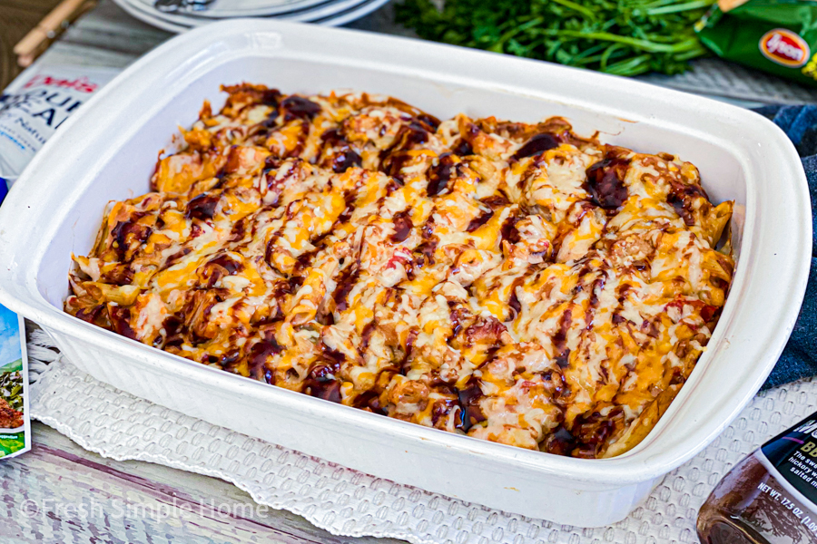 The BBQ Chicken Casserole with Pasta in a casserole dish after being cooked.
