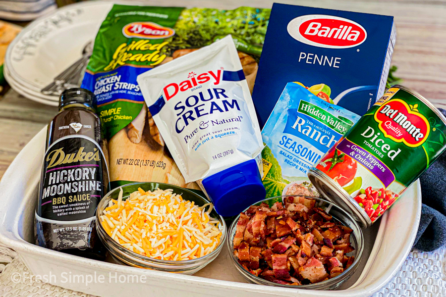 The ingredients laid out for the BBQ Chicken Casserole with Pasta.
