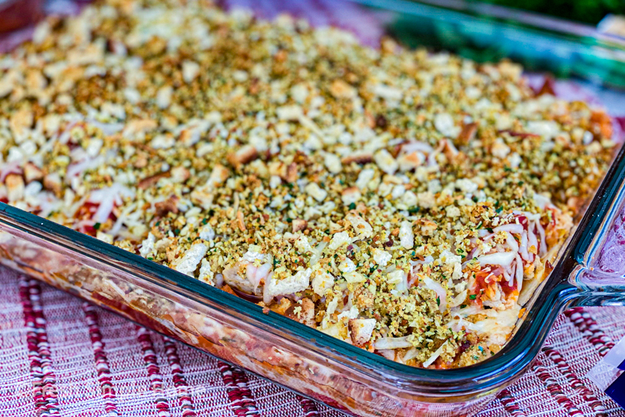 The Baked Chicken Parmesan Casserole baked and on a table.