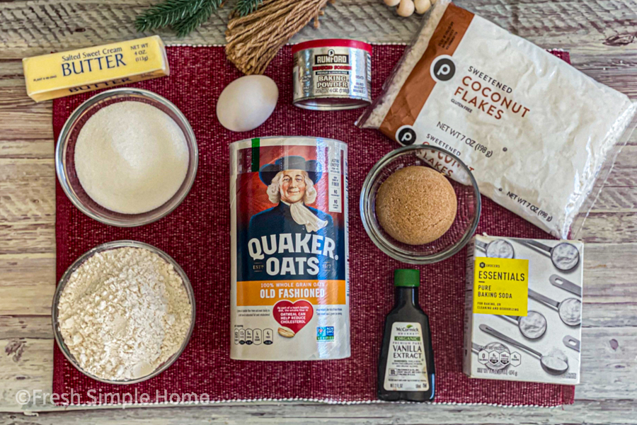 The ingredients for my Incredible Coconut Oatmeal Cookie Recipe laid flat on a table cloth.