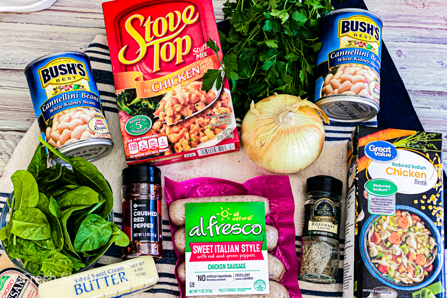 The ingredients for the Hearty Italian Chicken Sausage Stew.