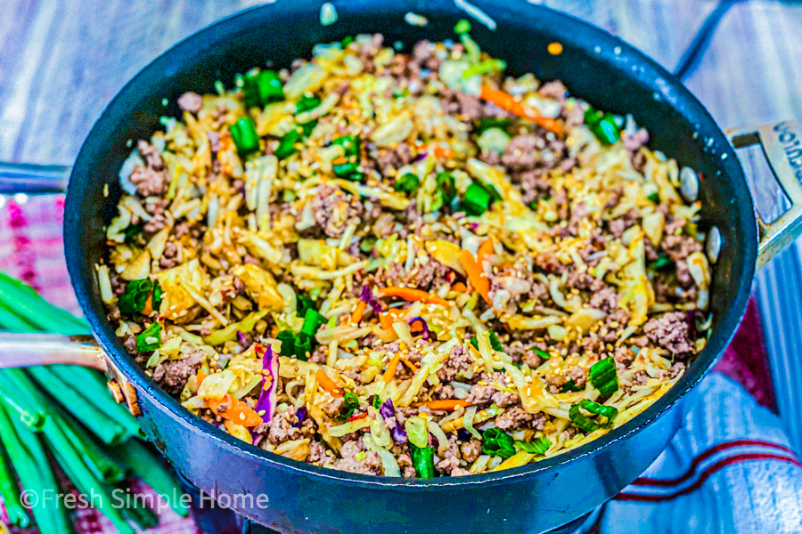 The final of my Easy Keto Beef Stir Fry in a black skillet ready to eat.