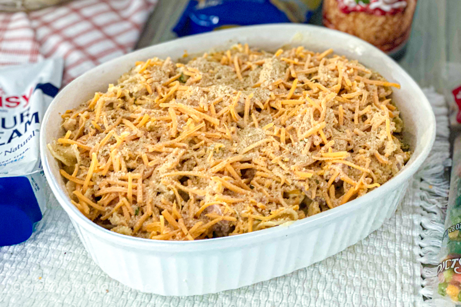 The Easy Leftover Ham Casserole Recipe all put together before baking.