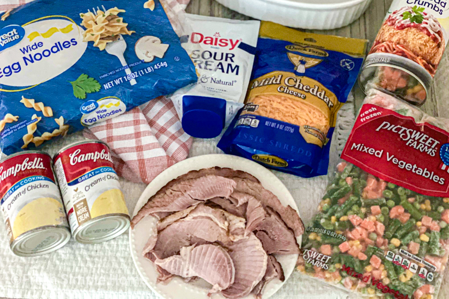 The ingredients for the Easy Leftover Ham Casserole Recipe.