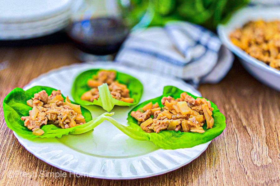 The Simple Chicken Lettuce Wraps all plated and ready to serve!
