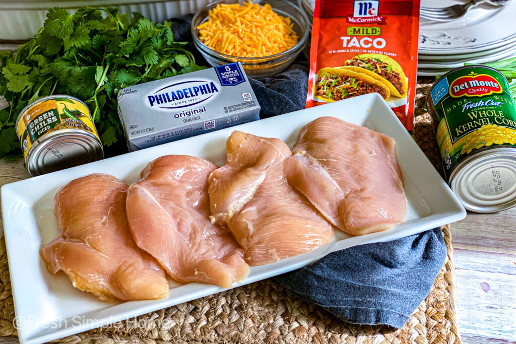 The ingredients for the Mexican Corn Chicken Bake laid on a table.