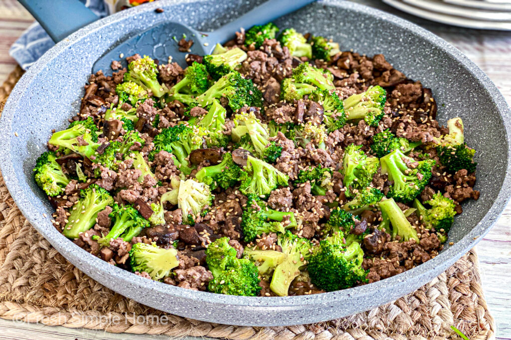 The Teriyaki Beef and Broccoli all cooked and ready to be served.