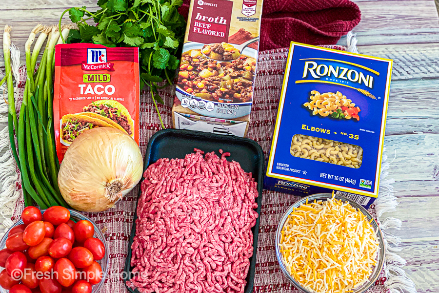 The ingredients for the Cheesy Taco Pasta Casserole.