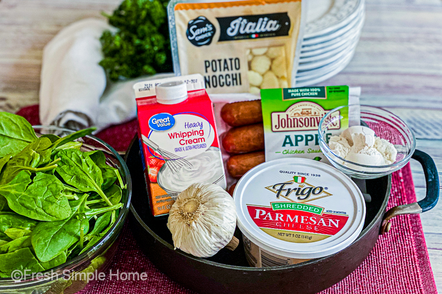 The ingredients for the Italian Chicken Gnocchi Recipe.