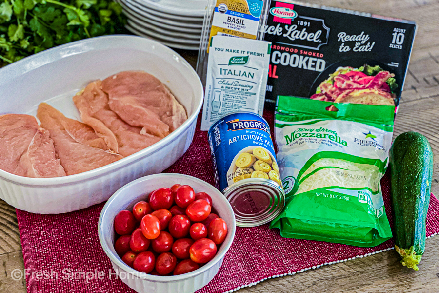 The ingredients laid out for the Baked Italian Chicken Breast with Veggies.