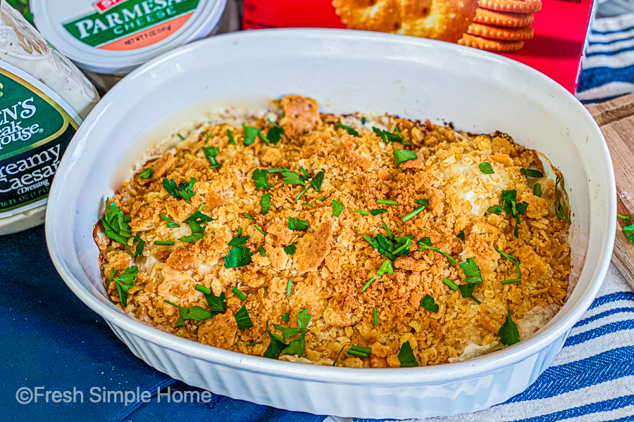 The Easy Baked Creamy Caesar Chicken finished, baked, and ready to serve.