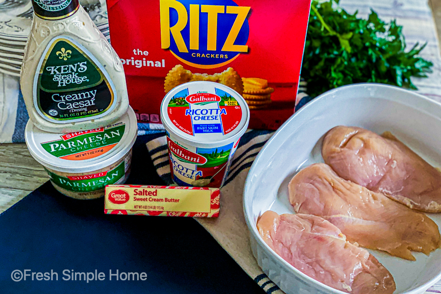 The ingredients for the Easy Baked Creamy Caesar Chicken.