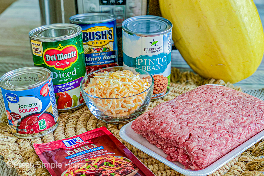 The ingredients for the Healthy Spaghetti Squash Chili laid out on a table